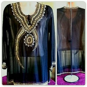 Beaded Sheer Black Boho Tunic Top Size  14/16