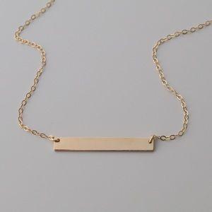 14K Gold Filled Dainty Blank Bar Necklace