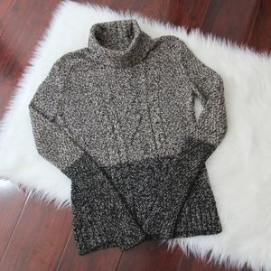 Gray Colorblock Marled Yak Wool Turtleneck Sweater