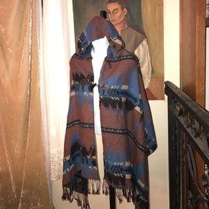Hooded Cape geometric design blue brown tan black