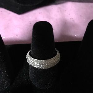 Sterling Silver 3 roll with Round Cubic Zirconia