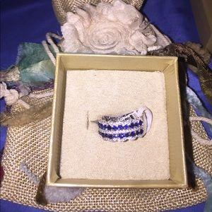 3.03 ctw blue sapphire and white diamond simulant