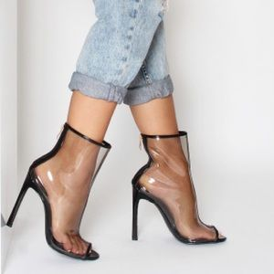 Black Peep Toe Clear High Bootie
