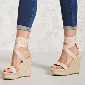 F21 Wrap Around Heels in Baby Pink