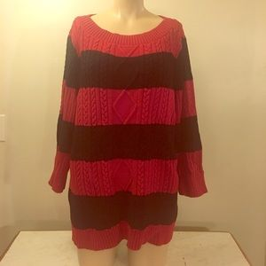 Designer Red & Navy Strip Cable Knit Sweater Plus