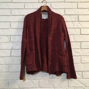 Soft Red Marled Cardigan