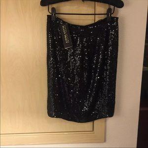 Black Skirt Ellen Tracy $425 Silk Sequin