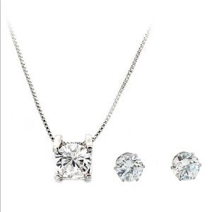 Single crystal silver necklace earrings set
