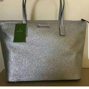 NWT Kate Spade silver glitter tote