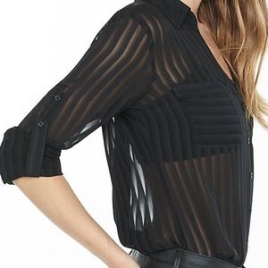 Express Slim Fit Sheer Striped Portfolio Shirt
