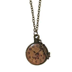NECKLACE - Vintage Clock & Key Pendant