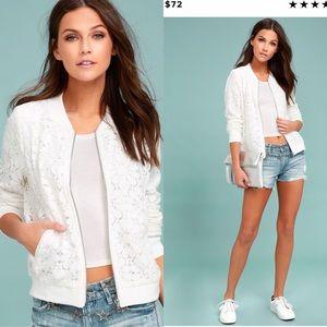White Lace Bomber Jacket