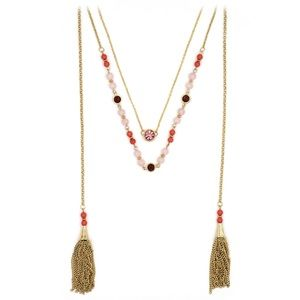 Fashion tassel golden crystal beads necklace