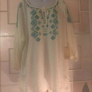Sejour White Long Sleeve Embroidery 3X