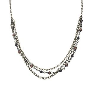 NECKLACE - Bronze Toned Multi Chain + Beads