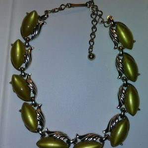Green and gold vintage necklace