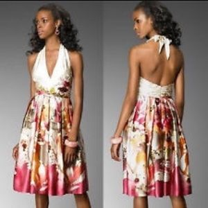 Adrianna Papell Floral Silky Dress 2P