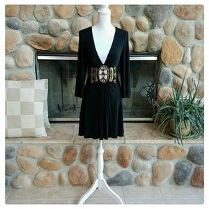Double Zero Deep V BeJeweled Mini Dress