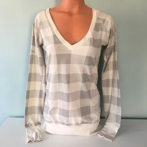 Urban Outfitters Checkered Deep V Sweater XS