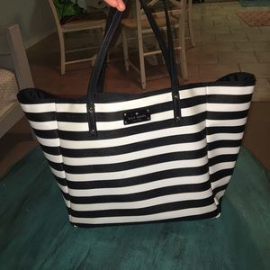 Kate spade black and white stripped purse / bag