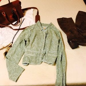 🍂FREE PEOPLE PAISLEY GREEN LIME SWEATER JACKET