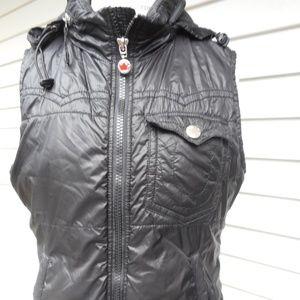 True Religion Puffer Vest With Zip Away Hood