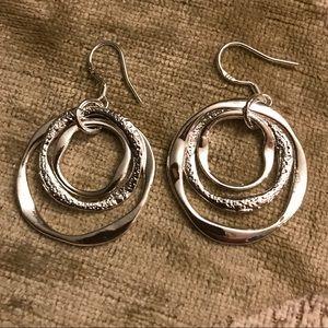 Solid 925SS drop dangle triple circle earrings