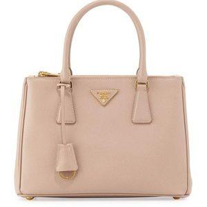 Prada Saffiano Lux Small DoubleZip Tote Bag, Blush