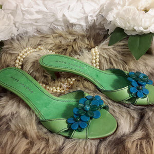 RARE!! Marc Jacobs Green Leather & Flowers Sz 9.5