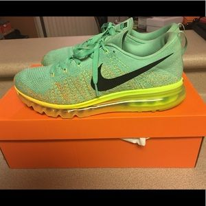 Nike Max Flyknit Green Glow Vivid Orange Mens 11
