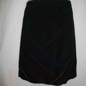 Black Casual Corner Colored Threads Skirt 14 XL