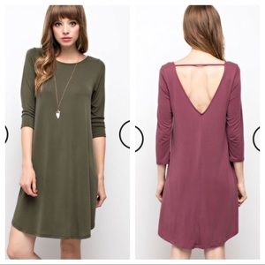 3/4 Sleeve Olive dress with cutout back