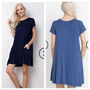 Navy T-Shirt dress with pockets