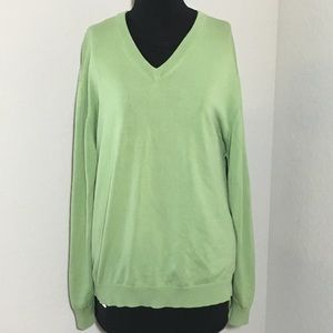 Brooks Brothers Vneck Sweater Lime Green Silk XL