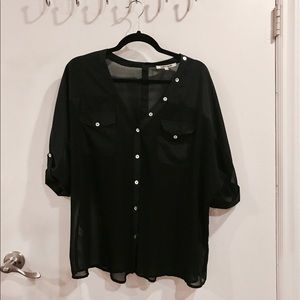 Black Buttoned Up Blouse