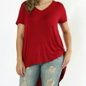 Tops - Hi Low Top Plus Size V-Neck