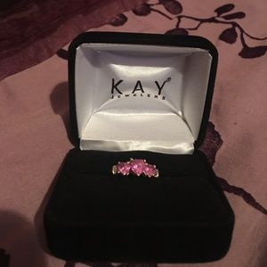 Kay Jewelers pink hearts gold ring