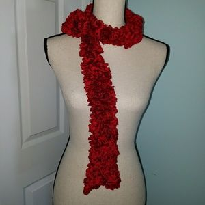 Nwt Red Knitted Scarf