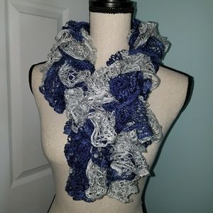 Navy and Silver Knitted Scarf