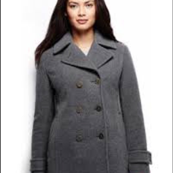 good selling attractive colour sneakers for cheap Lands End women's gray wool pea coat sz 8