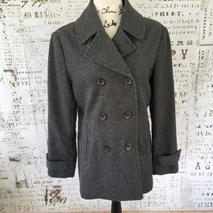 Lands End women's gray wool pea coat sz 8