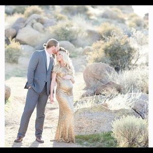 XS Gold Sequin Maternity Gown Dress