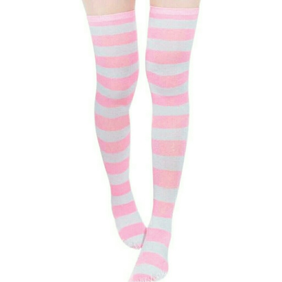 51afce7ff28 NEW Knit Thigh High Boot Socks Pink White Stripes