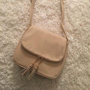 Handbags - Cream Crossbody Purse with Tassels