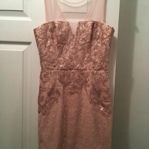 BCBG rose gold and pink dress