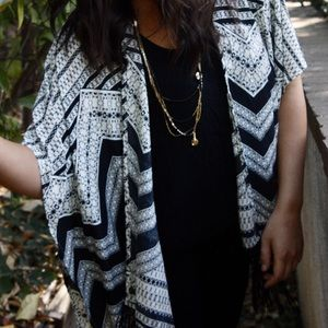 B/W Patterned Lightweight Throw Over