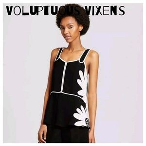 {PLUS} Victoria Beckham Retro Black and White Top
