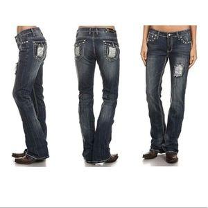 Bling Boot Cut Denim Jeans Christian EIW 3-15 Plus