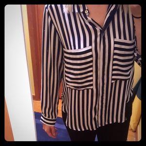Stripped black and white women dress shirt!