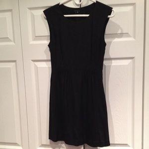 Black silk Theory cinched waist dress with pockets